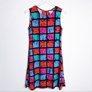 Vintage Mod Color Block Shift Dress 1980's 1990's
